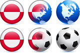 Greenland Flag Button with Global Soccer Event