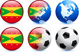 Grenada Flag Button with Global Soccer Event