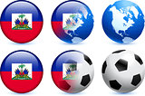 Haiti Flag Button with Global Soccer Event