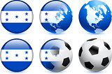 Honduras Flag Button with Global Soccer Event
