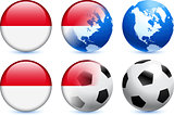 Indonesia Flag Button with Global Soccer Event