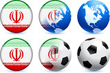 Iran Flag Button with Global Soccer Event