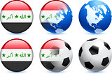 Iraq Flag Button with Global Soccer Event