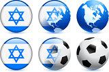 Israel Flag Button with Global Soccer Event