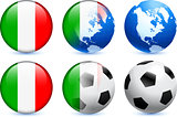Italy Flag Button with Global Soccer Event