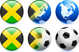 Jamaica Flag Button with Global Soccer Event