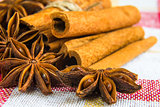 a few anise stars with cassia cinnamon