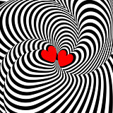 Design hearts twisting illusion background