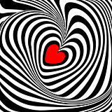 Design heart whirl illusion background