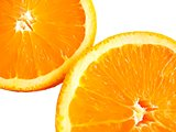 medical, closeup of two half oranges