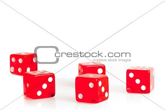 five red dice with space for text