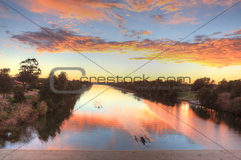 Beautiful sunrise over the Nepean River in Penrith