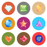 Gem stone flat color icons on white background
