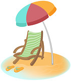 Parasol, sunbed and Flip-Flops. Vector cartoon