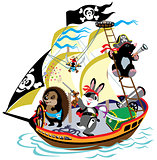 cartoon pirate ship