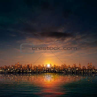 abstract nature background with panorama of city clouds and suns
