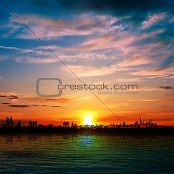 abstract nature background with panorama of city