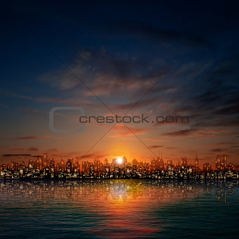 abstract nature background with panorama of city dark clouds and