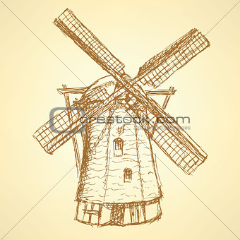 Sketch Holand windmill, vector vintage background