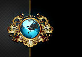 ornate frame with globe