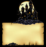 paper background with black castle