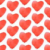 Aquarell heart, vector vintage seamless pattern