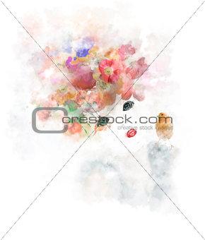 Watercolor Image Of Girl