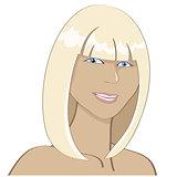 portrait of a smiling sunburnt blonde girl