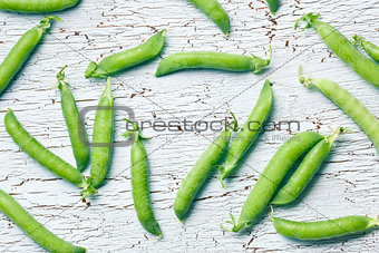 top view of green pea pods