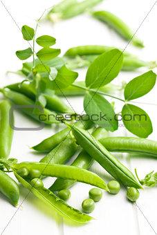 green pea pod on white table