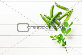 green pea pod on white table