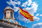 Flags of Spain and Catalonia Together