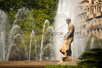 Fountain in Placa Catalunya - Barcelona
