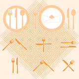 Plate orange color icons with fork and knife sign
