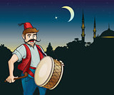 Ramadan drummer and mosque