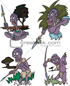 Cartoon African aborigines hunters