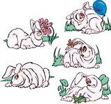 Funny pink rabbits