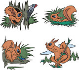 Cartoon squirrels