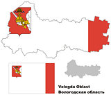 outline map of Vologda Oblast with flag