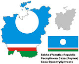 outline map of Sakha (Yakutia) with flag