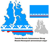 outline map of Yamalo-Nenets Autonomous Okrug with flag