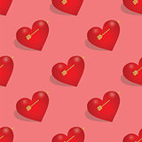 Seamless pattern of hearts with arrow