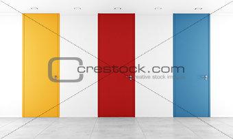 Three colorful full height door