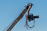 professional film camera on the boom