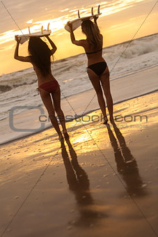 Beautiful Bikini Women Surfers & Surfboards At Beach