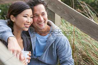Asian Man Woman Romantic Couple Drinking Coffee