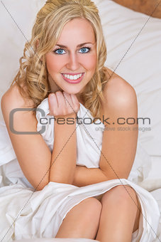 Beautiful Blond Woman Girl in Bed