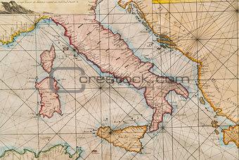 Old map of Italy, Sicily, Corsica, Croatia and Sardinia