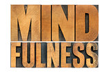 mindfulness word in wood type