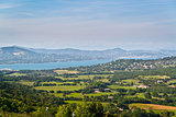 Panorama from Gassin to bay of St. Tropez
